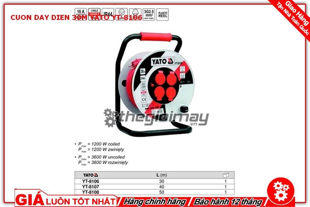 Cuộn dây điện Yato YT-8106 có thể chịu được cho nhiều thiết bị điện cùng một lúc cắm vào là 3600W