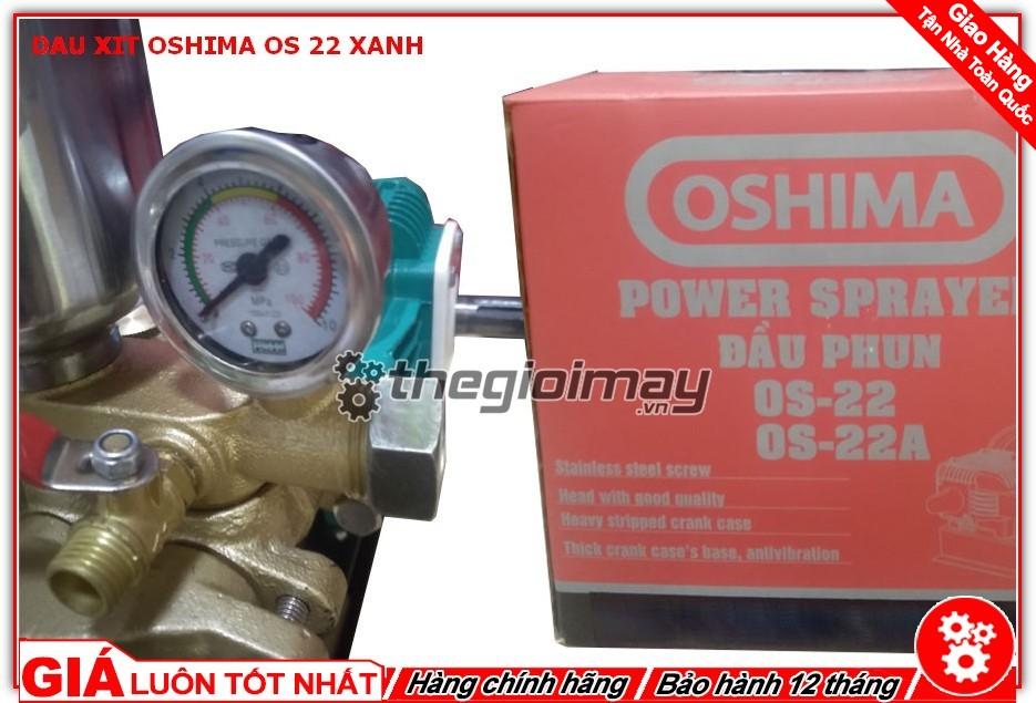 Đồng hồ đo áp đầu xịt Oshima OS 22 xanh