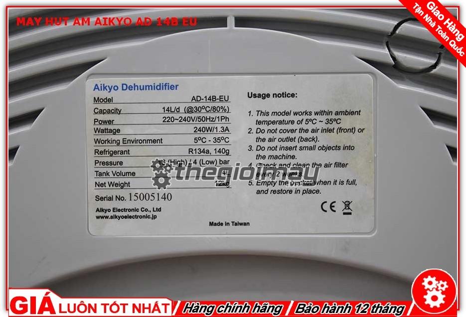 Thông số máy hút ẩm Aikyo 14B EU