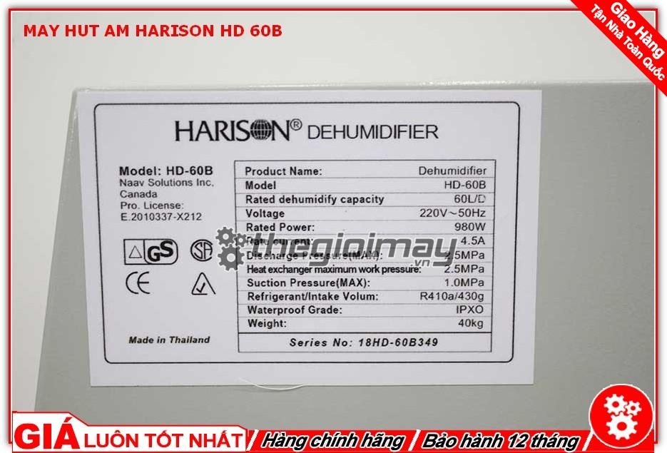 Thông số máy hút ẩm Harison HD-60B