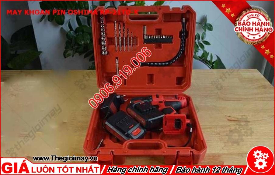 Bộ sản phẩm đầy đủ của máy khoan pin Oshima KP21TD-K