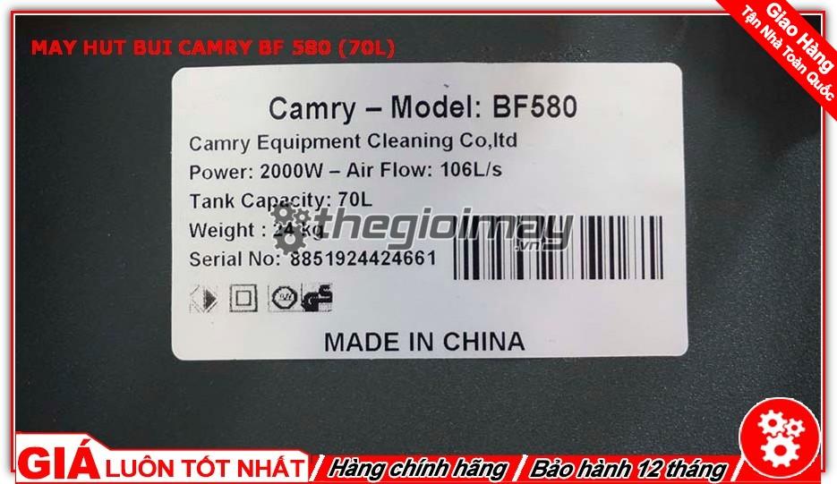 Thông số máy hút bụi Camry 580( 70L)