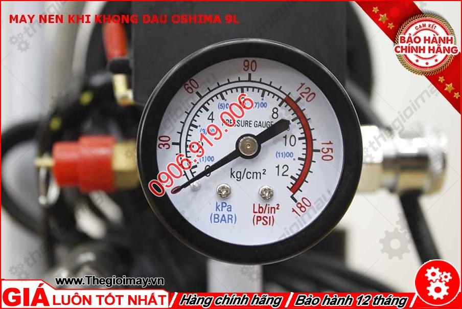 Đồng hồ máy nén khí không dầu oshima 9l lít