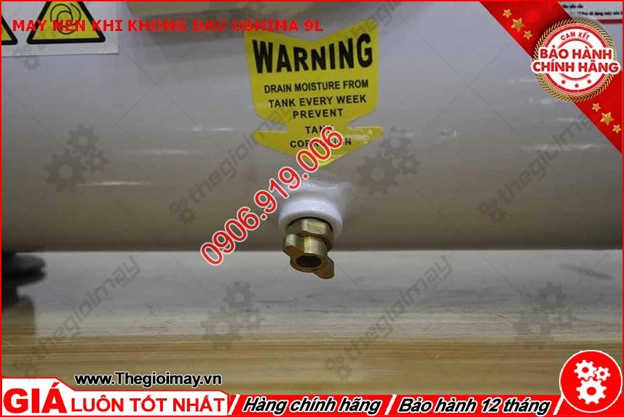 Van xả nước máy nén khí không dầu oshima 9l lít