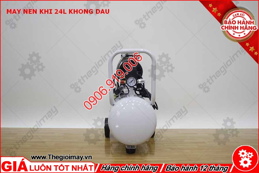 Mặt hông máy nén khí không dầu oshima 24 lít