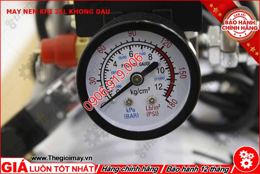 Đồng hồ máy nén khí không dầu oshima 24 lít