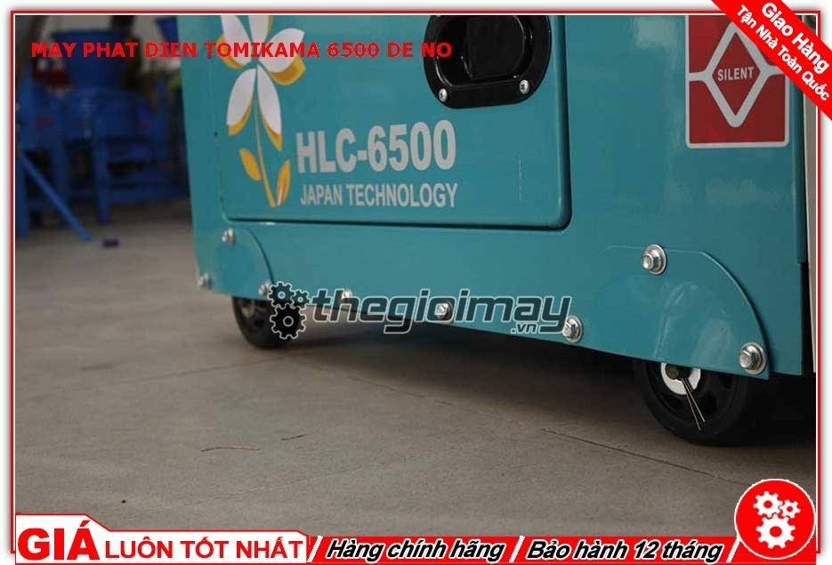 Máy phát điện Tomikama HLC-6500 được trang bị hệ thống bánh xe giúp máy dễ dàng di chuyển