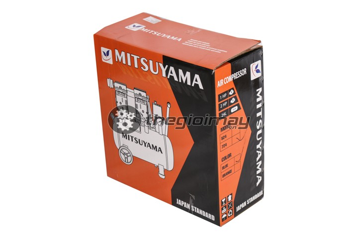 Thùng máy nén khí không dầu mitsuyama 24 lít màu xanh